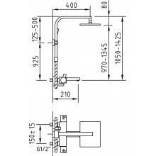 Columa termostático Bimini de banho com duche extensível - CLEVER