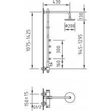 Coluna termostática de 4 jatos Mikura com kit de duche completo - CLEVER