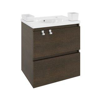 Móvel com lavatório de porcelana 60 cm Carvalho chocolate B-Box BATH+