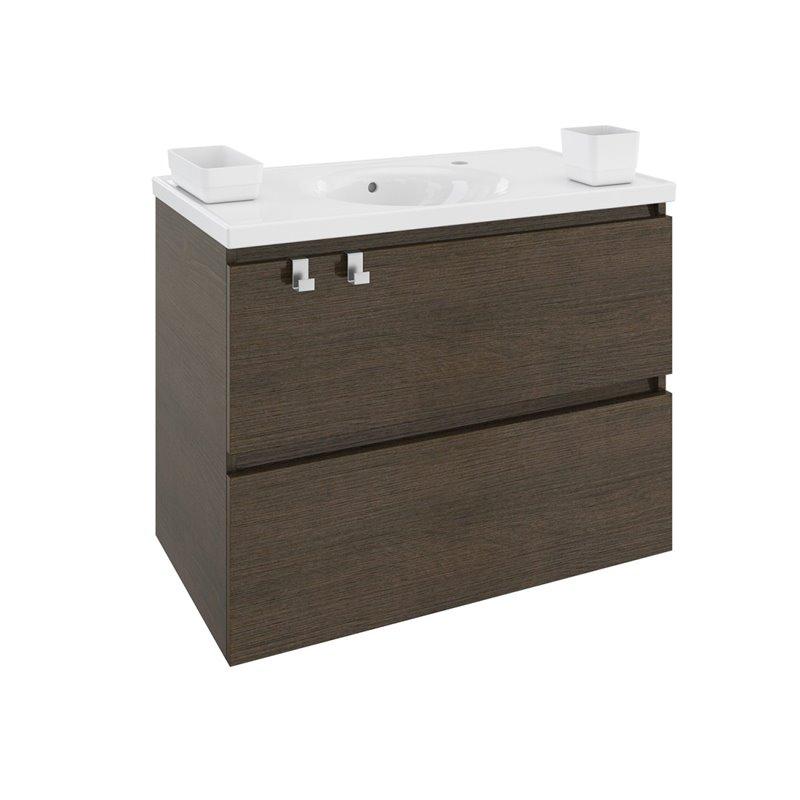 Móvel com lavatório de resina 80 cm Carvalho Chocolate B-Box BATH+