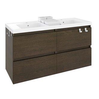 Móvel com lavatório de resina 2 pias 120 cm Carvalho chocolate B-Box BATH+