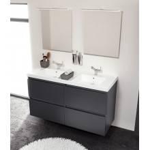 Móvel com lavatório de resina 2 pias 120 cm Branco B-Box BATH+