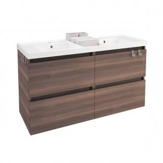 Móvel com lavatório de resina 2 pias 120 cm Fresno B-Box BATH+