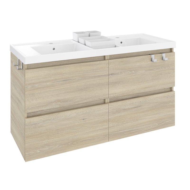 Móvel com lavatório de resina 2 pias 120 cm Carvalho nature B-Box BATH+