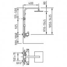 Coluna termostática Bimini de duche extensível - CLEVER