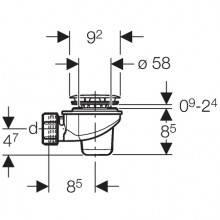 Sifão para base de duche Ø60mm - GEBERIT