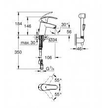 Torneira de lavatório S com conjunto de duche Eurosmart - GROHE