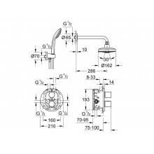 Conjunto de duche termostático 4 jatos Grohtherm 3000 Cosmopolitan - GROHE