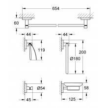 Porta-rolos e conjunto de 5 acessórios para casa de banho Essentials - GROHE