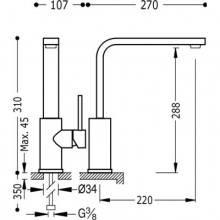 Torneira de lava-louça reta Aço TRES