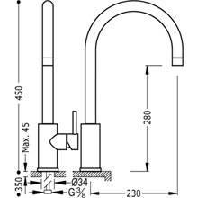 Torneira de lava-louça alta MAX-TRES