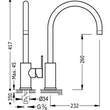 Torneira de lava-louça Curva LEX-TRES