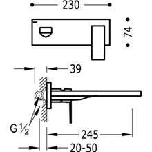 Torneira de parede 24,5 cm CUADRO-TRES
