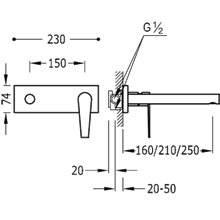 Torneira de parede 21 cm CLASS-TRES