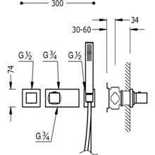 Conjunto de duche termostático 1 via TRES C