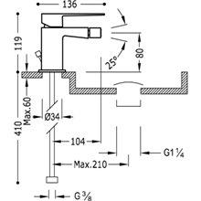 Torneira de bidé com Válvula de drenagem TRES SLIM