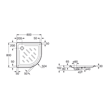 Base de duche angular 80x80cm Easy Roca