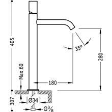 Torneira de lavatório L TUB TRES STUDY