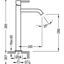 Torneira de lavatório L TRES STUDY