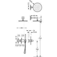 Kit de duche termostático Aço de 2 vias TRES STUDY