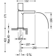 Torneira de lavatório Branca de Cascata TRES TUB LOFT