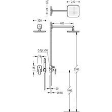 Conjunto de duche Violeta de 2 vias TRES LOFT