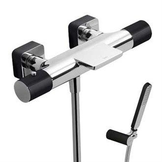 Kit de banheira-duche termostático Cr/Pr TRES LOFT