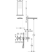 Kit de duche termostático 2 vias Aço TRES LOFT