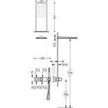 Kit de duche termostático 2 vias Cr/Vi TRES LOFT