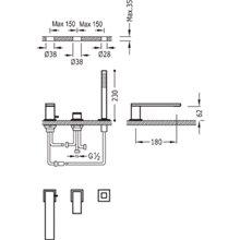 Combinação para banheira CUADRO-TRES 18cm