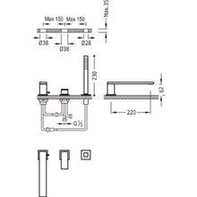Combinação para banheira CUADRO-TRES 22cm