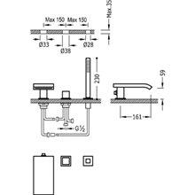 Combinação para banheira com cascata CUB CUADRO-TRES