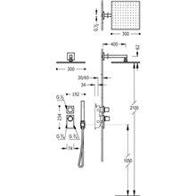 Kit de duche termostático 2 vias CUADRO-TRES