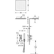Kit de duche termostático 2 vias Teto CUADRO-TRES