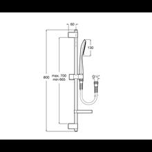 Conjunto de duche rampa 80cm 4 funções Round...