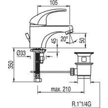 Torneira de lavatório com dreno MONO-TRES 2000