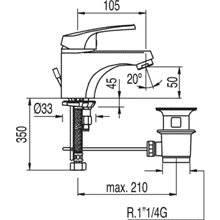 Torneira de lavatório ECO com dreno ECO-TRES