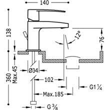 Torneira de lavatório Flat-Tres