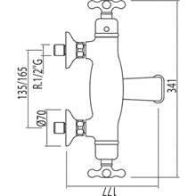 Torneira de banheira-duche termostática ECO Monoclasic 1900 Tres