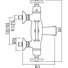 Torneira de banheira-duche termostática ECO Monoclasic 1900 com suporte Tres
