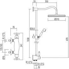 Conjunto de duche termostático ECO Monoclasic 1900 TRES