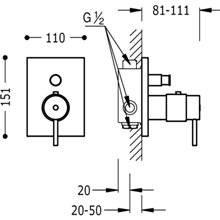 Torneira termostática de encastrar banho-duche Compact Tres