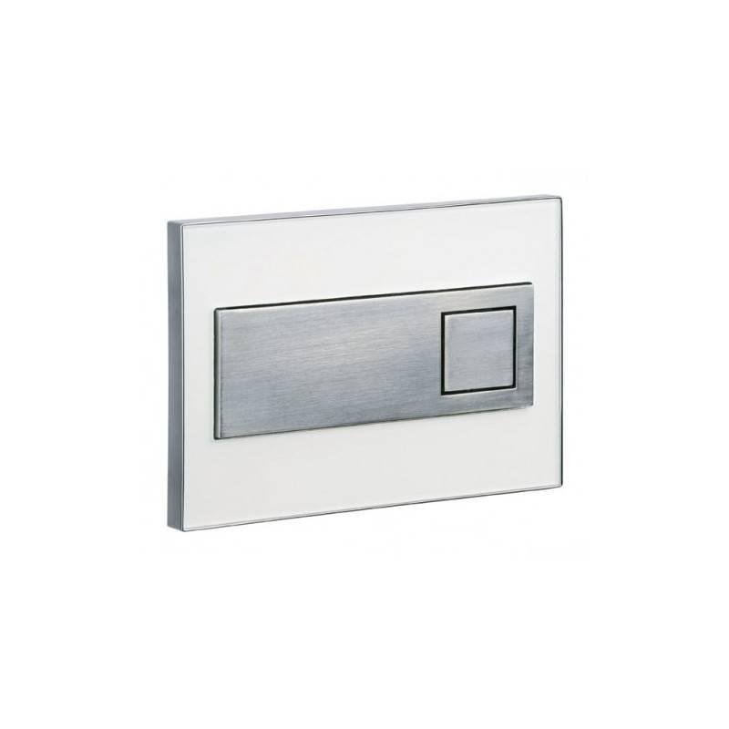 Placa de acionamento cromada com vidro branco SQUARE - Unisan Sanindusa