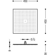 Chuveiro de duche quadrado 45x45 TRES