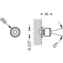 Duche encastrado lateral com rótula anticalcário ABS 1 função TRES