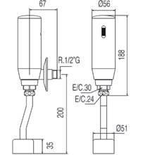 Torneira de urinol eletrónica TRES TRES