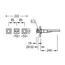 Torneira de parede aço 3 centros 24 cm CUADRO-TRES
