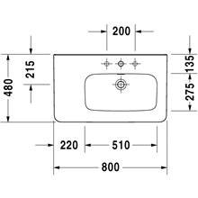 Lavatório assimétrico lado direito para móvel 80 DuraStyle - DURAVIT