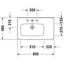 Lavatório assimétrico lado esquerdo para móvel 80 respiro DuraStyle - DURAVIT