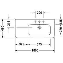 Lavatório assimétrico lado direito para móvel 100 respiro DuraStyle - DURAVIT
